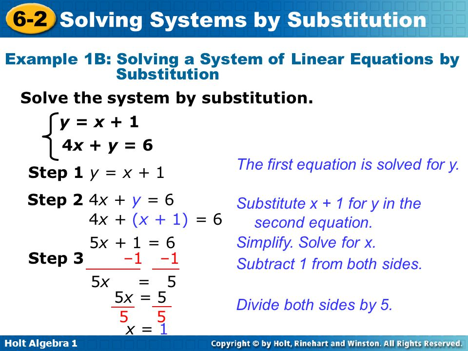 Example 1B: Solving a System of Linear Equations by Substitution