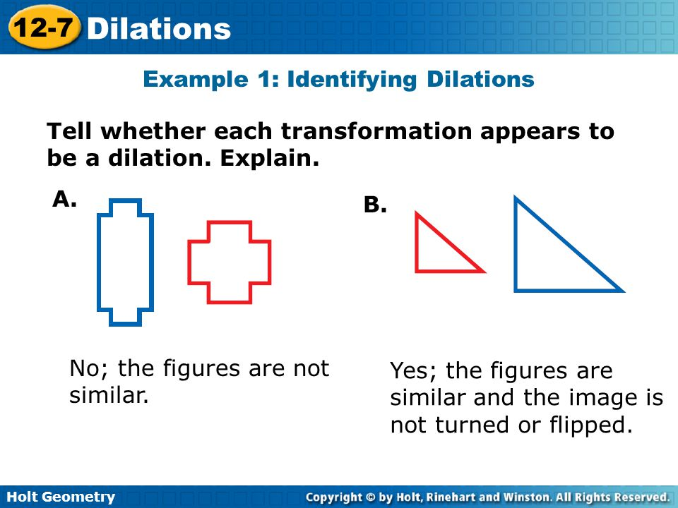 Example 1: Identifying Dilations