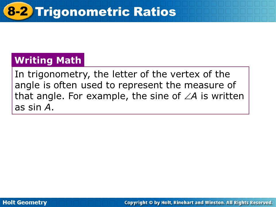 How to write a trigonometric ratio as a simplified fraction def