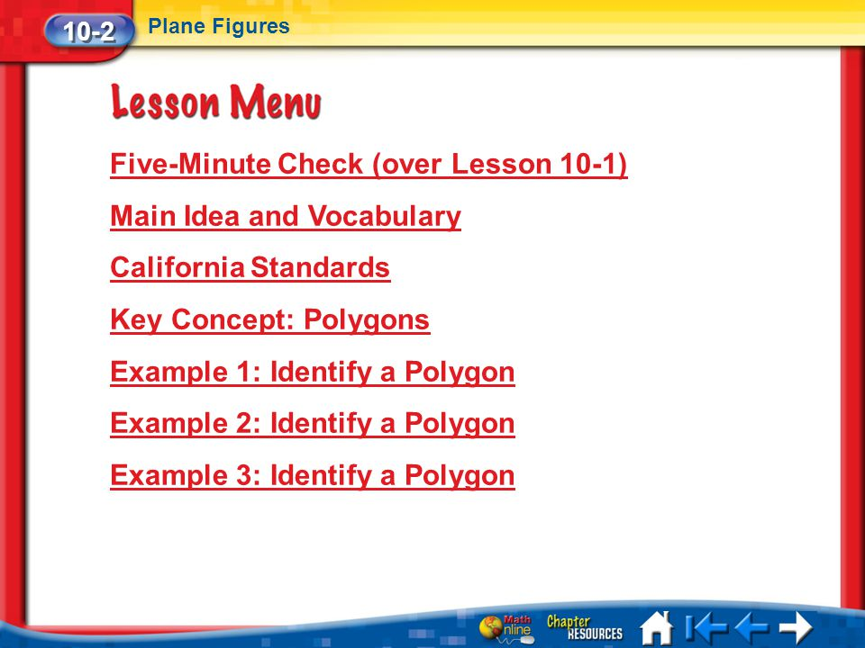 Five-Minute Check (over Lesson 10-1) Main Idea and Vocabulary