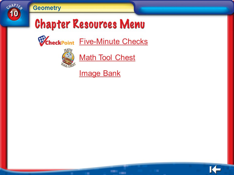 Geometry 10 Five-Minute Checks Math Tool Chest Image Bank CR Menu