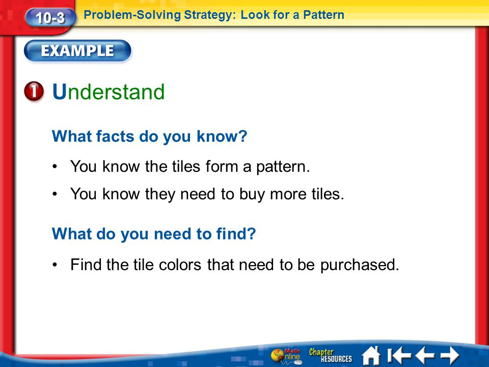Understand What facts do you know You know the tiles form a pattern.