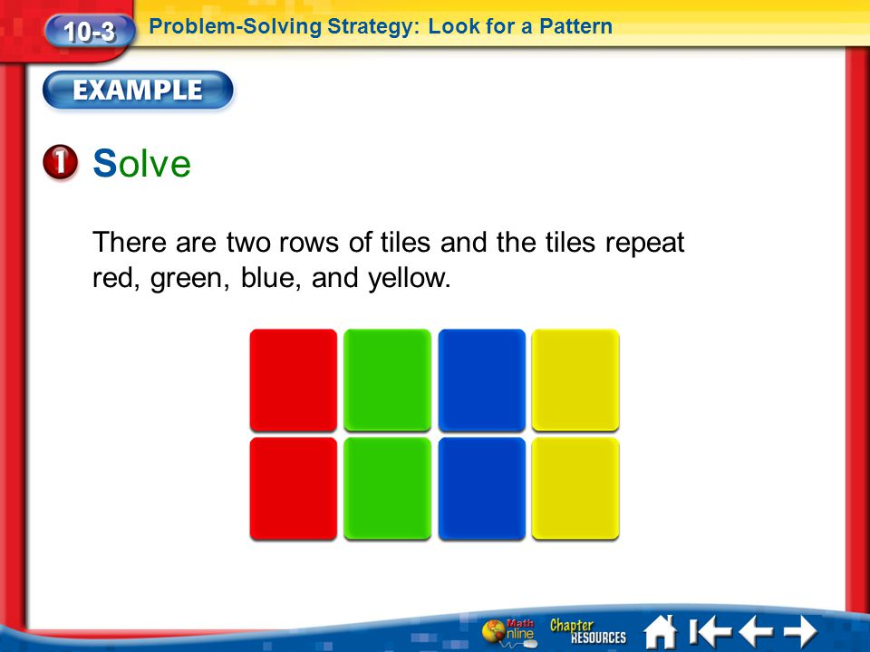 10-3 Problem-Solving Strategy: Look for a Pattern. Solve. There are two rows of tiles and the tiles repeat red, green, blue, and yellow.