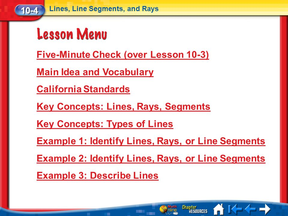 Five-Minute Check (over Lesson 10-3) Main Idea and Vocabulary