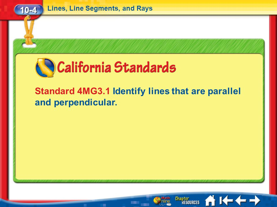 Standard 4MG3.1 Identify lines that are parallel and perpendicular.