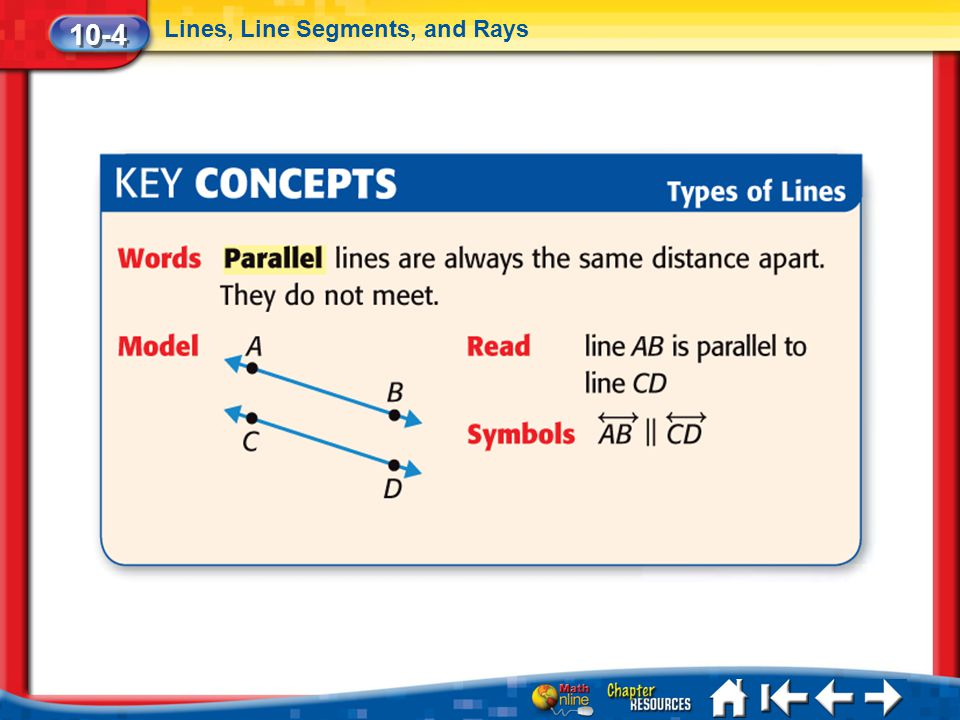 10-4 Lines, Line Segments, and Rays Lesson 4 Key Concepts 2a