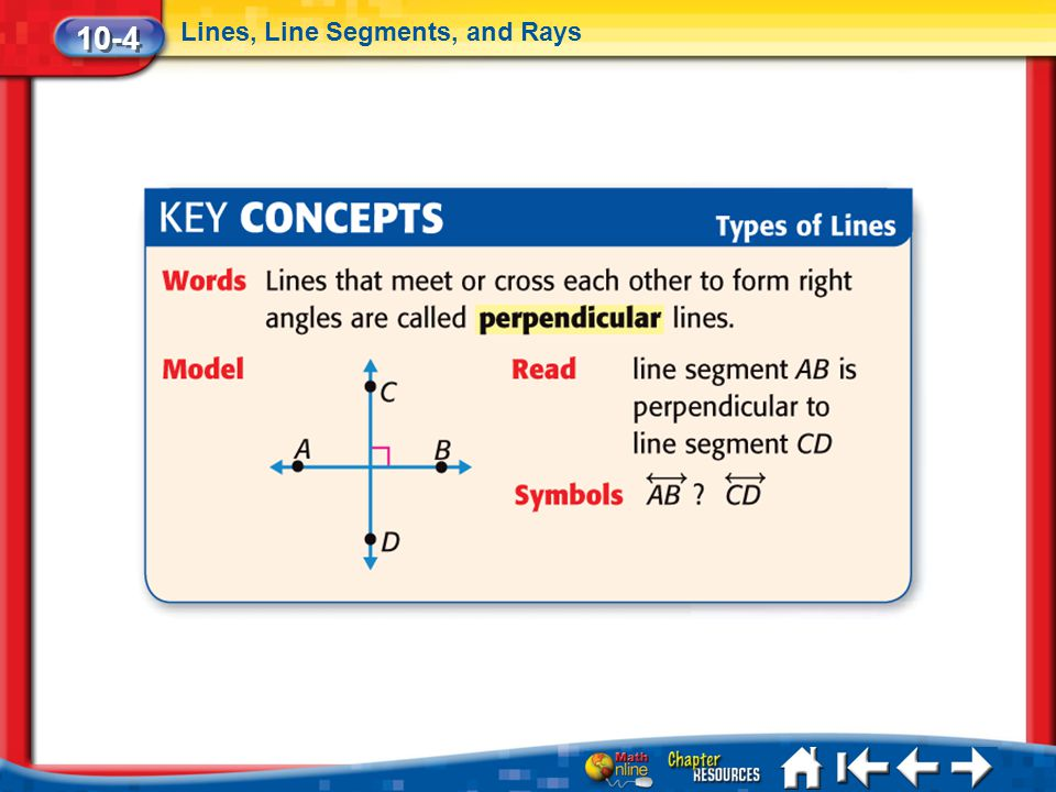 10-4 Lines, Line Segments, and Rays Lesson 4 Key Concepts 2c