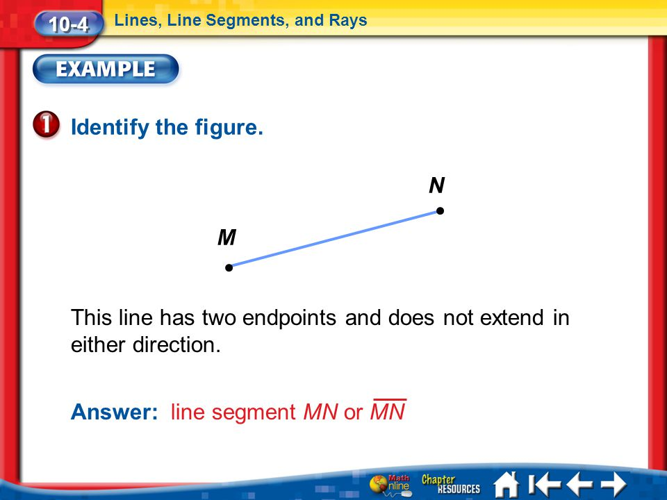 This line has two endpoints and does not extend in either direction.
