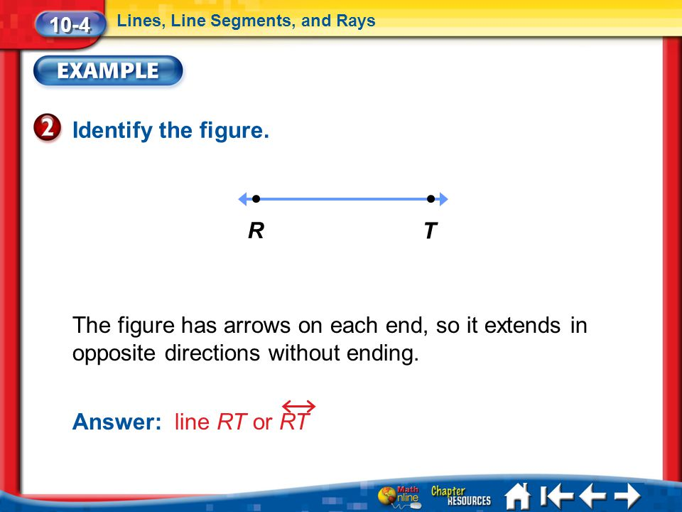 10-4 Lines, Line Segments, and Rays. Identify the figure. R. T.