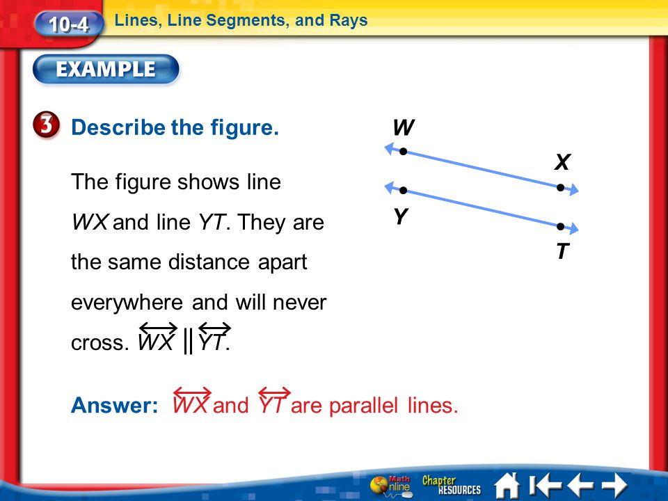 Answer: WX and YT are parallel lines.