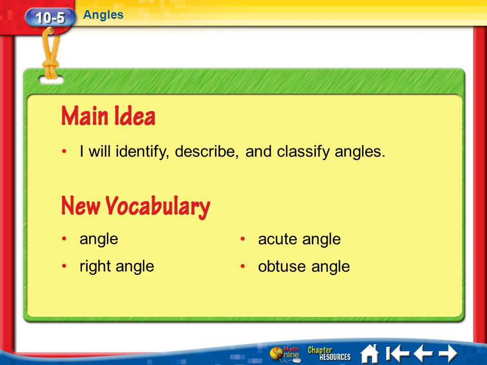 I will identify, describe, and classify angles.