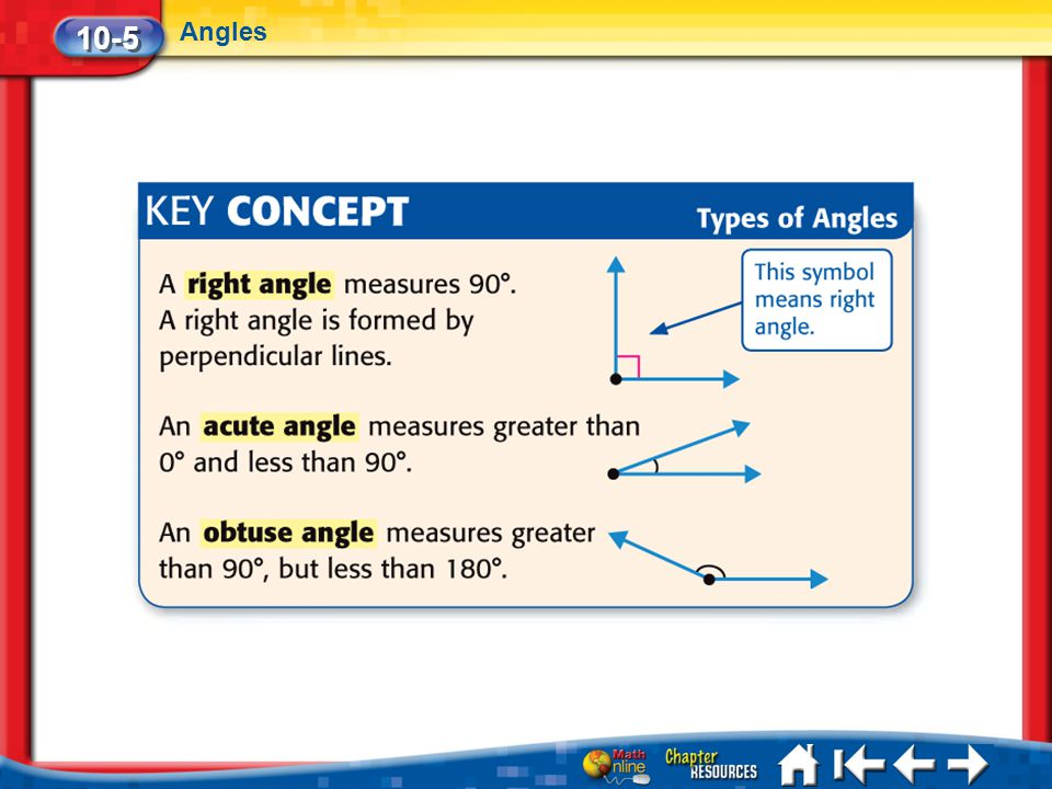 10-5 Angles Lesson 5 Key Concept 2