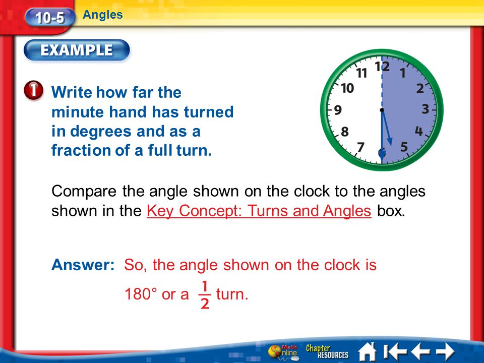 Answer: So, the angle shown on the clock is 180° or a turn.