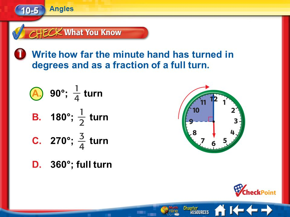 10-5 Angles. Write how far the minute hand has turned in degrees and as a fraction of a full turn.