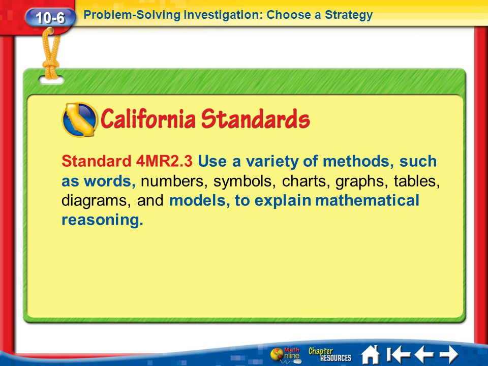10-6 Problem-Solving Investigation: Choose a Strategy.