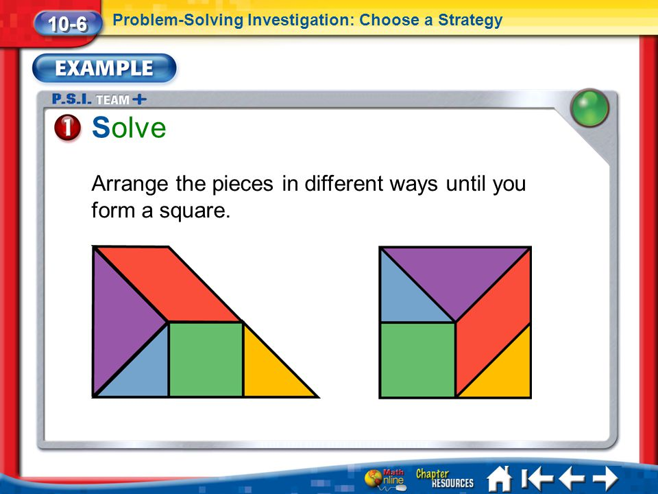 Solve Arrange the pieces in different ways until you form a square.