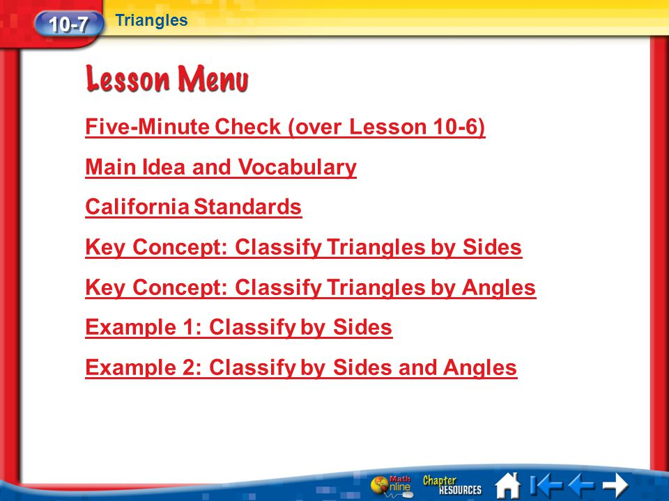 Five-Minute Check (over Lesson 10-6) Main Idea and Vocabulary