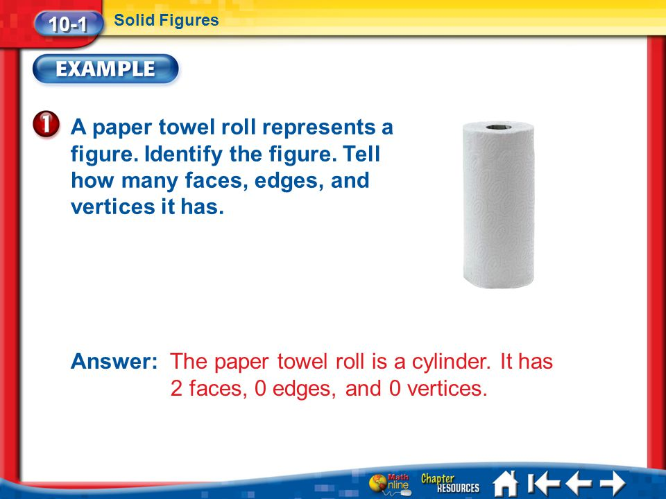 10-1 Solid Figures. A paper towel roll represents a figure. Identify the figure. Tell how many faces, edges, and vertices it has.