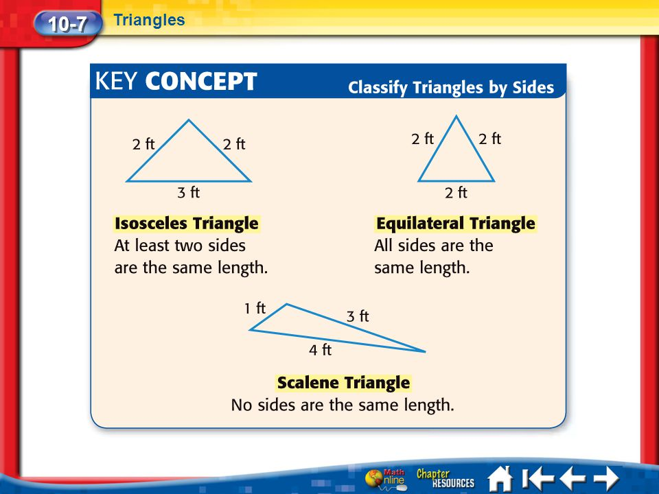 10-7 Triangles Lesson 7 Key Concept 1