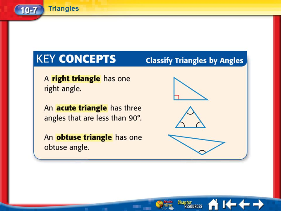 10-7 Triangles Lesson 7 Key Concept 2