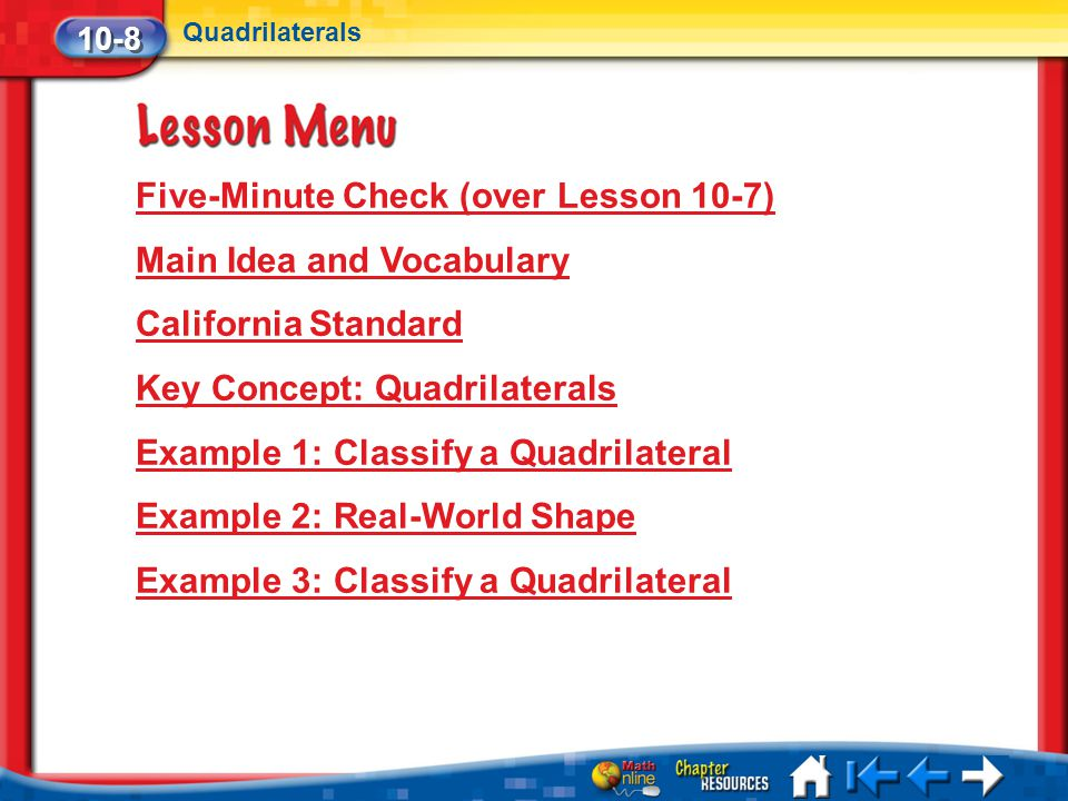 Five-Minute Check (over Lesson 10-7) Main Idea and Vocabulary