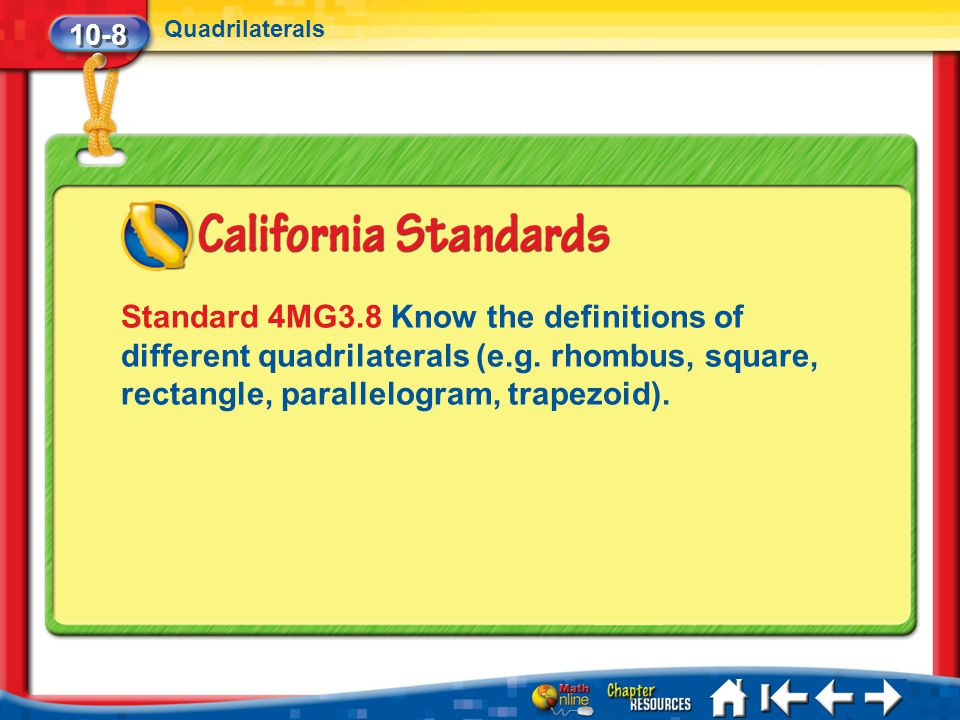 10-8 Quadrilaterals. Standard 4MG3.8 Know the definitions of different quadrilaterals (e.g. rhombus, square, rectangle, parallelogram, trapezoid).
