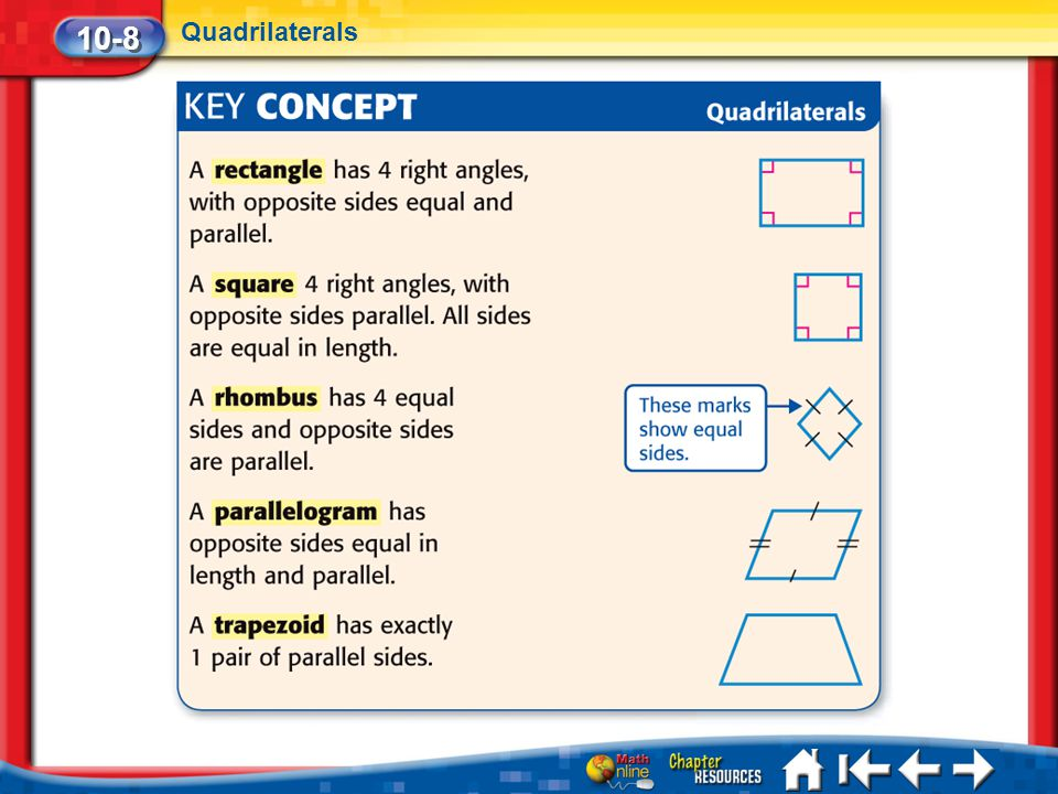 10-8 Quadrilaterals Lesson 8 Key Concept 1