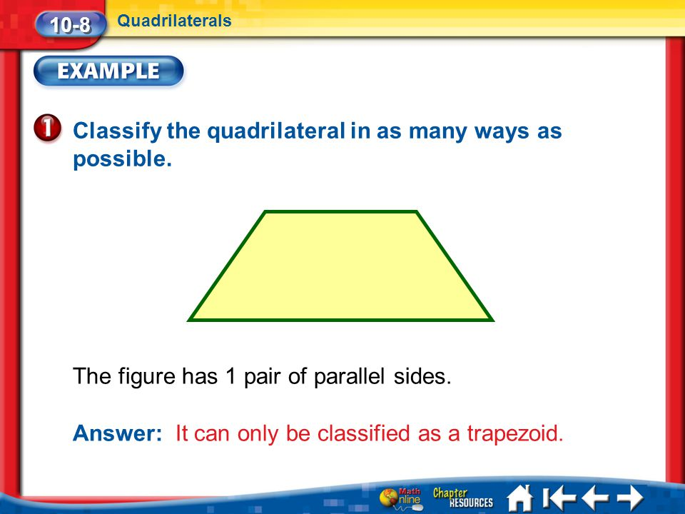 Classify the quadrilateral in as many ways as possible.