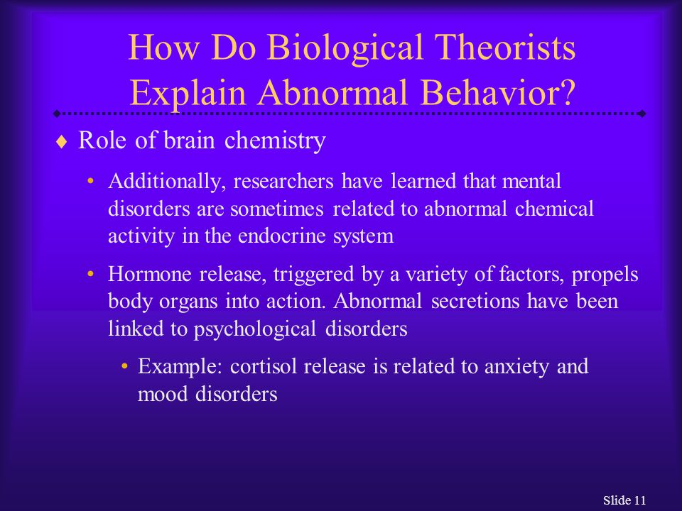 How Do Biological Theorists Explain Abnormal Behavior