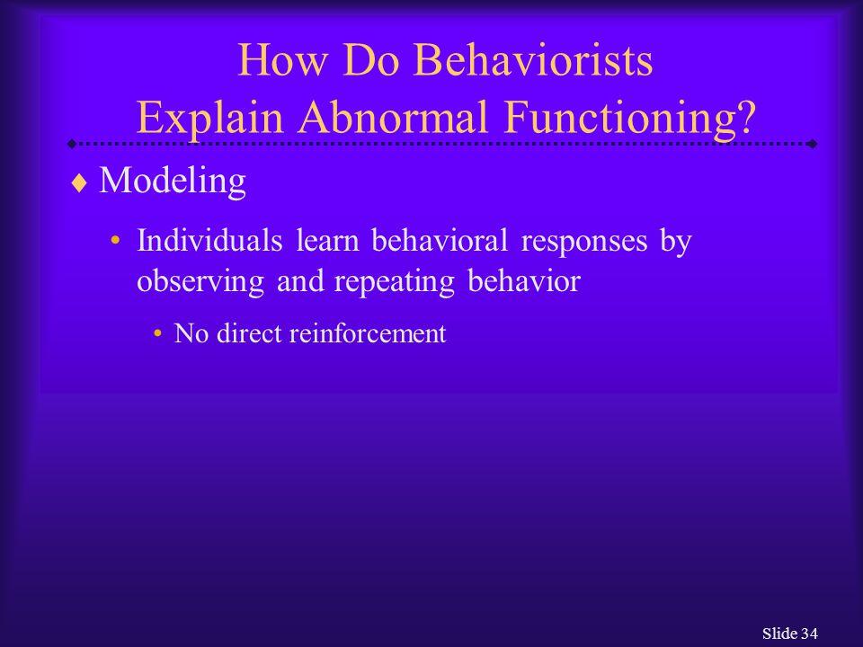 How Do Behaviorists Explain Abnormal Functioning