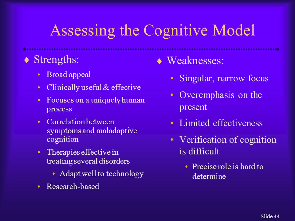 Assessing the Cognitive Model