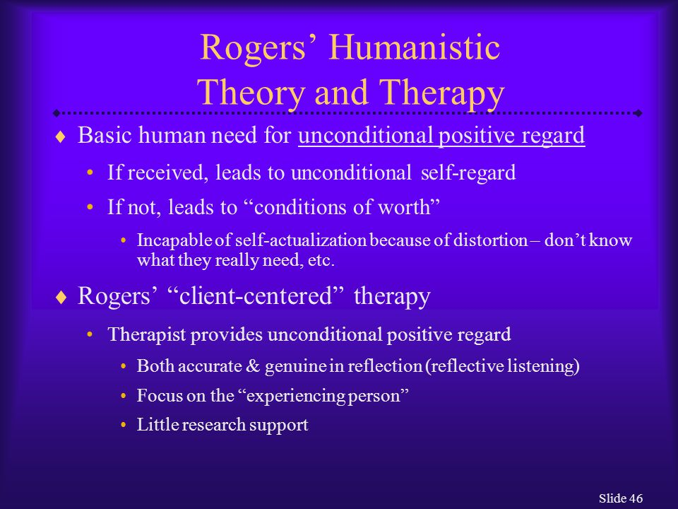 Rogers' Humanistic Theory and Therapy