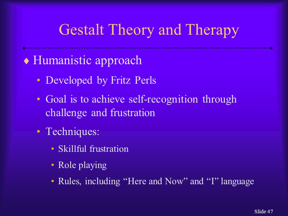 Gestalt Theory and Therapy