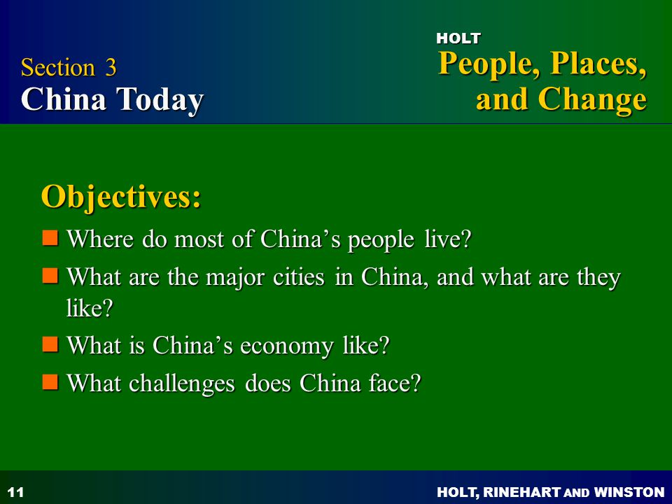 Objectives: Section 3 China Today