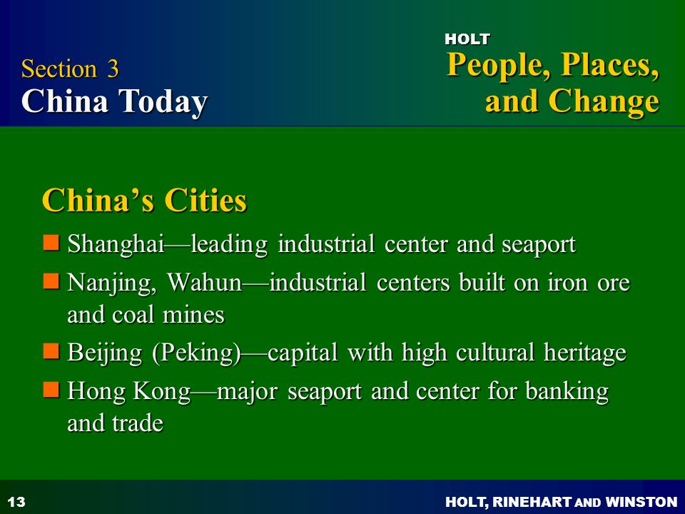 China's Cities Section 3 China Today