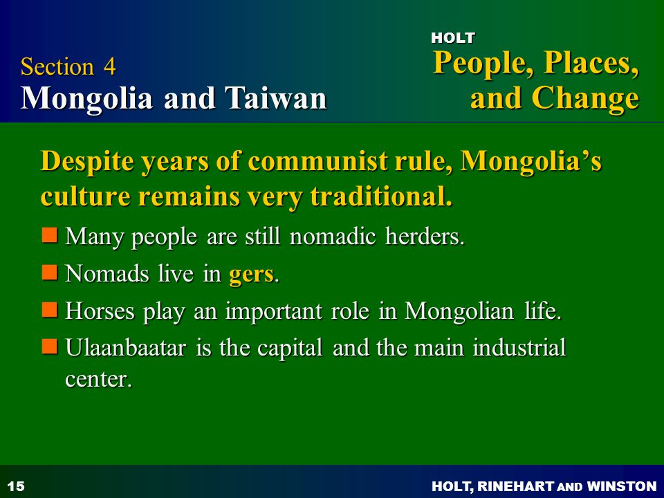 Section 4 Mongolia and Taiwan