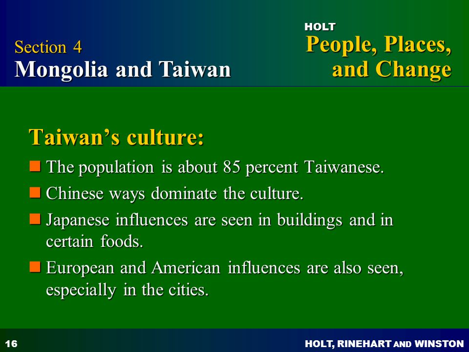 Taiwan's culture: Section 4 Mongolia and Taiwan