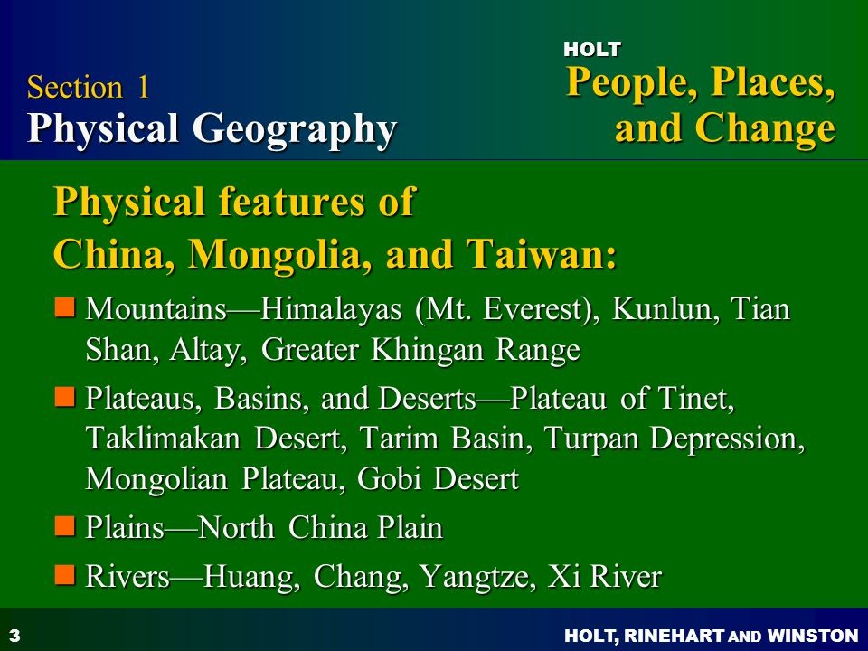 Physical features of China, Mongolia, and Taiwan: