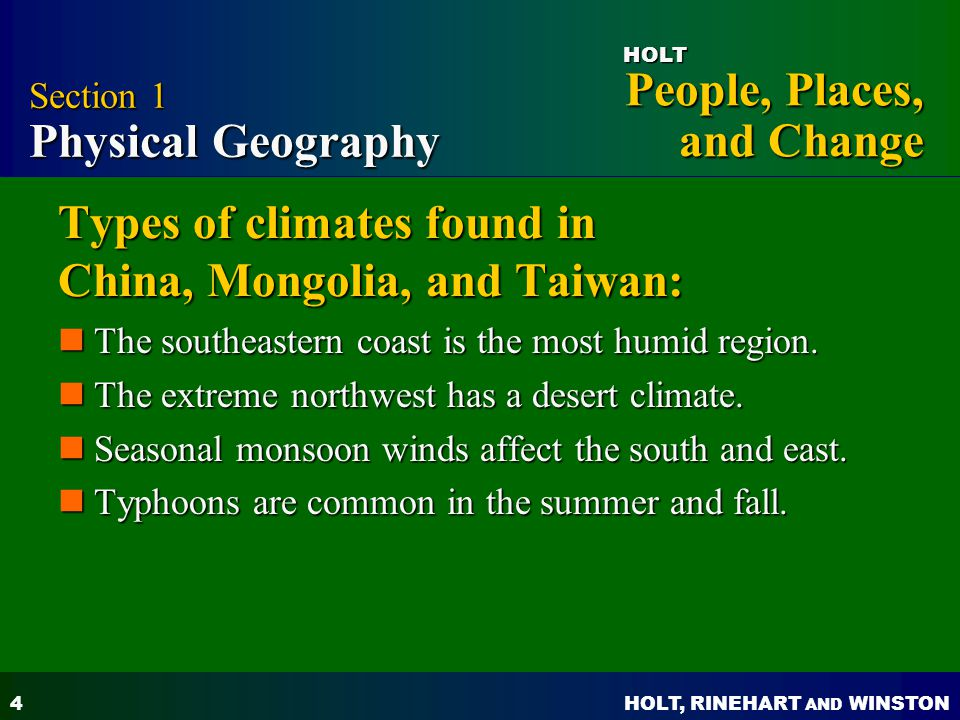 Types of climates found in China, Mongolia, and Taiwan: