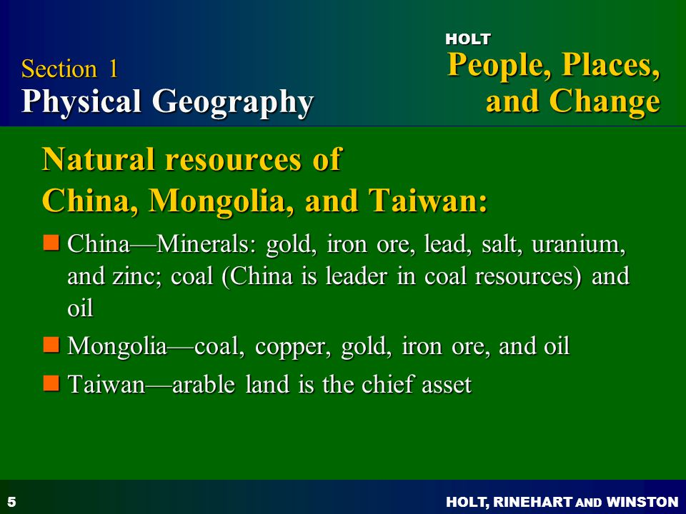 Natural resources of China, Mongolia, and Taiwan: