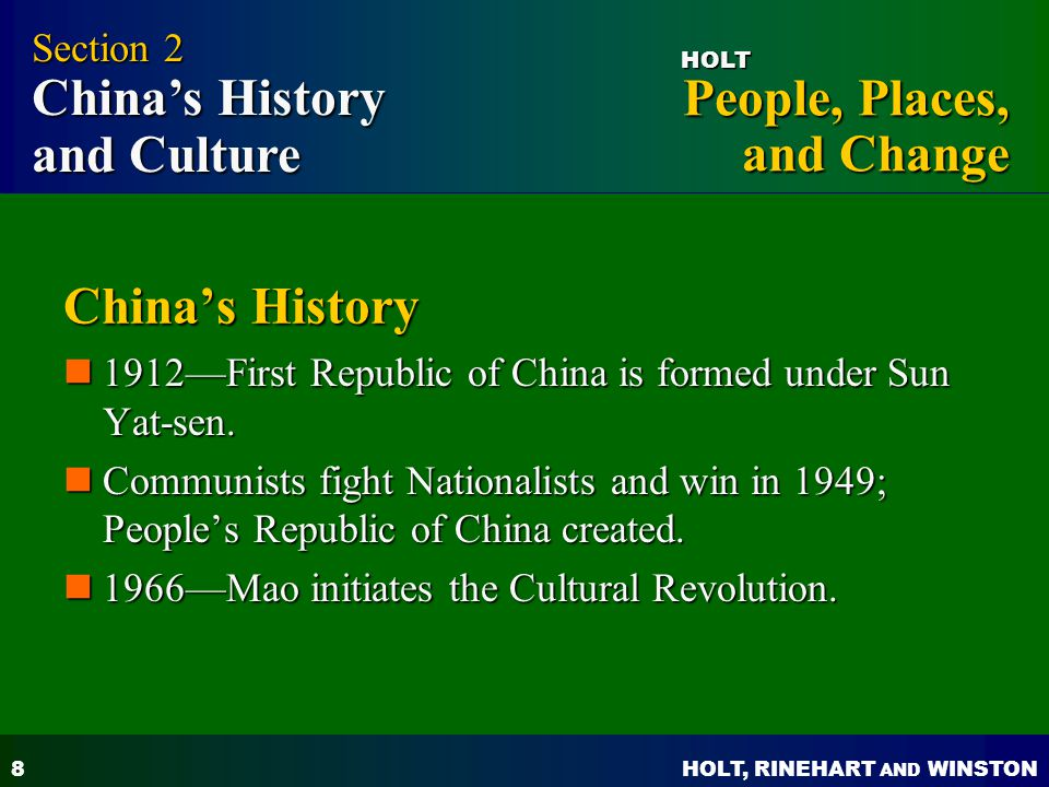 China's History Section 2 China's History and Culture
