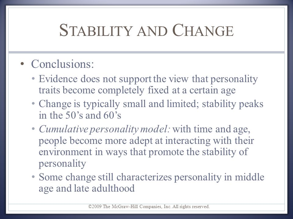 Stability and Change Conclusions: