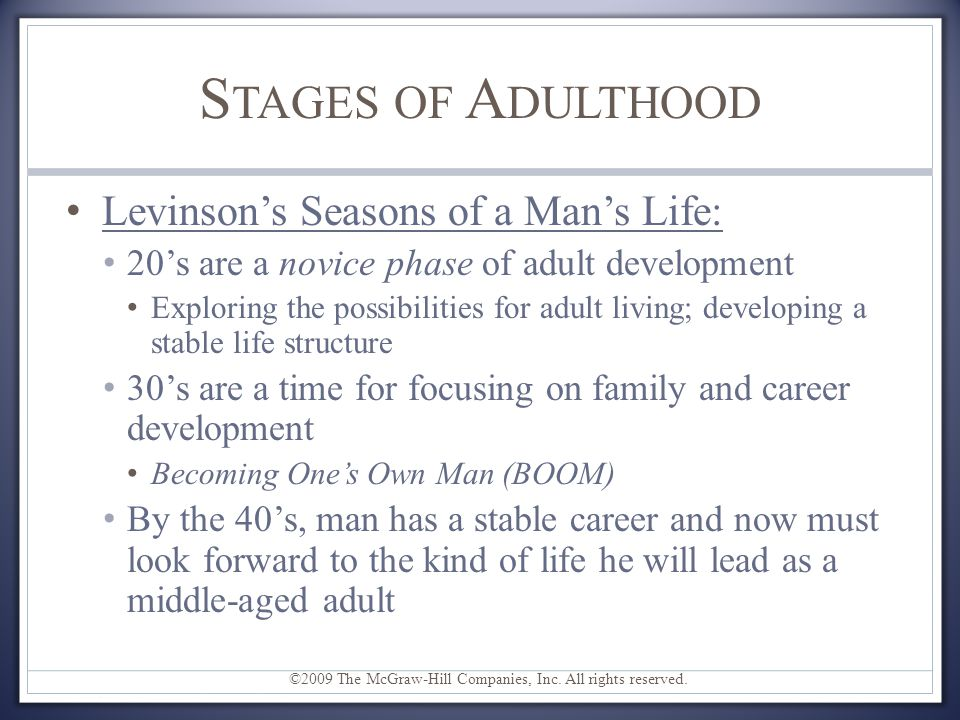 Stages of Adulthood Levinson's Seasons of a Man's Life: