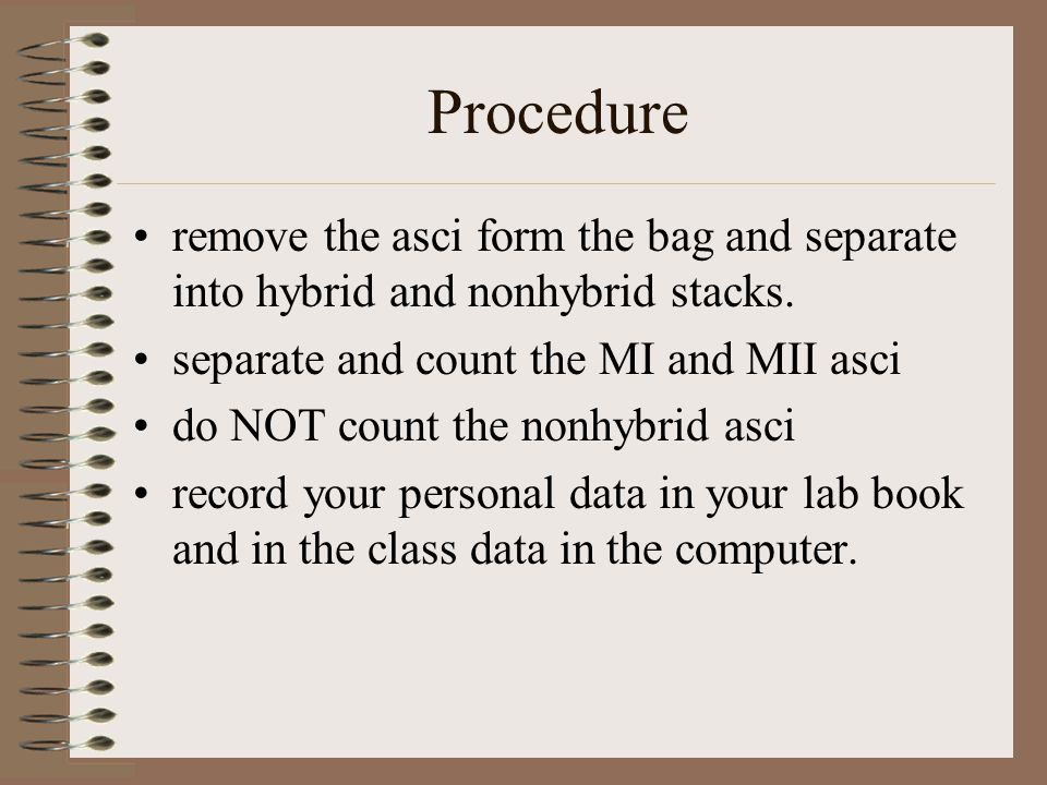 Procedure remove the asci form the bag and separate into hybrid and nonhybrid stacks. separate and count the MI and MII asci.