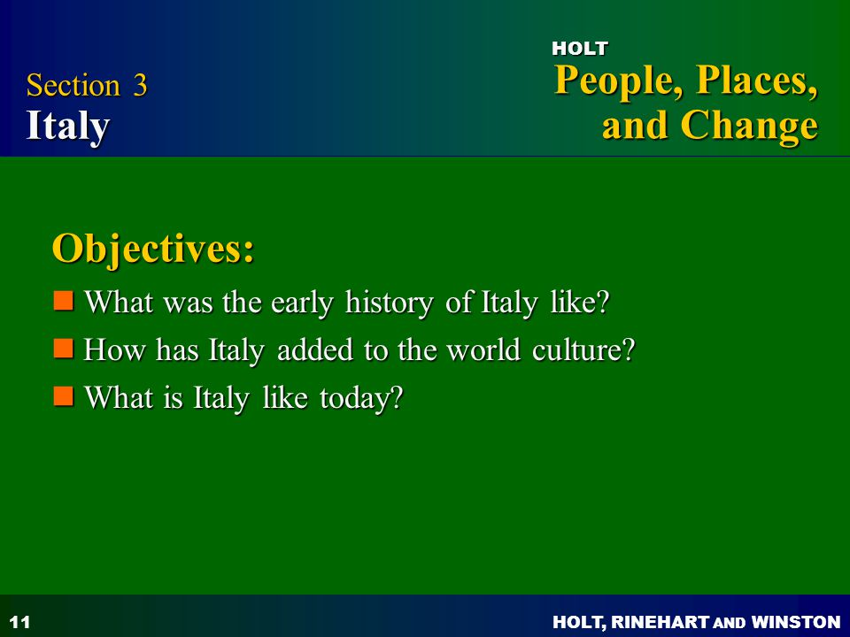 Objectives: Section 3 Italy What was the early history of Italy like