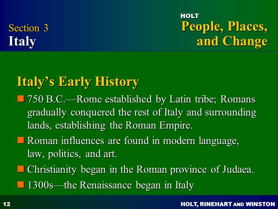 Italy's Early History Section 3 Italy
