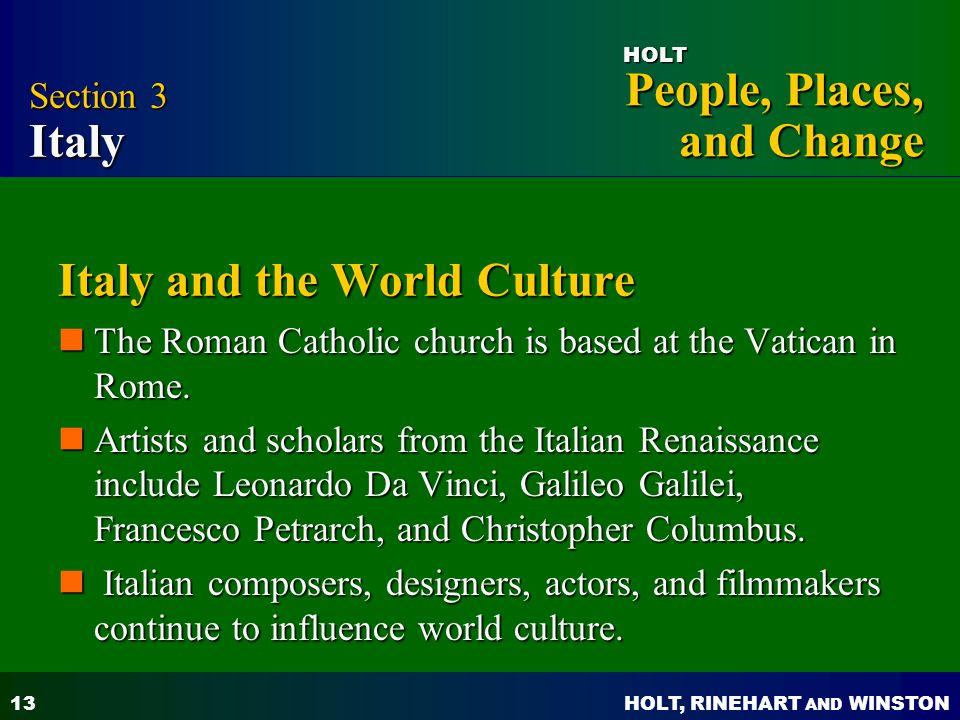 Italy and the World Culture