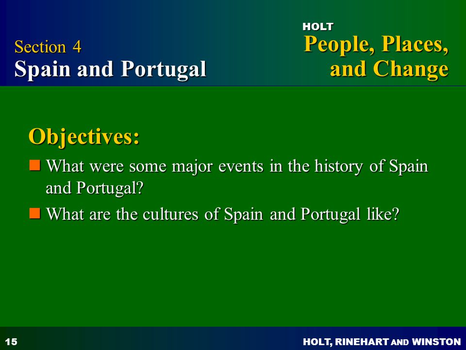 Objectives: Section 4 Spain and Portugal
