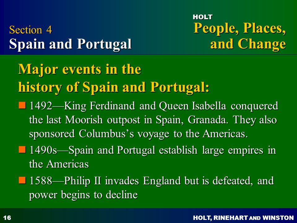 Major events in the history of Spain and Portugal:
