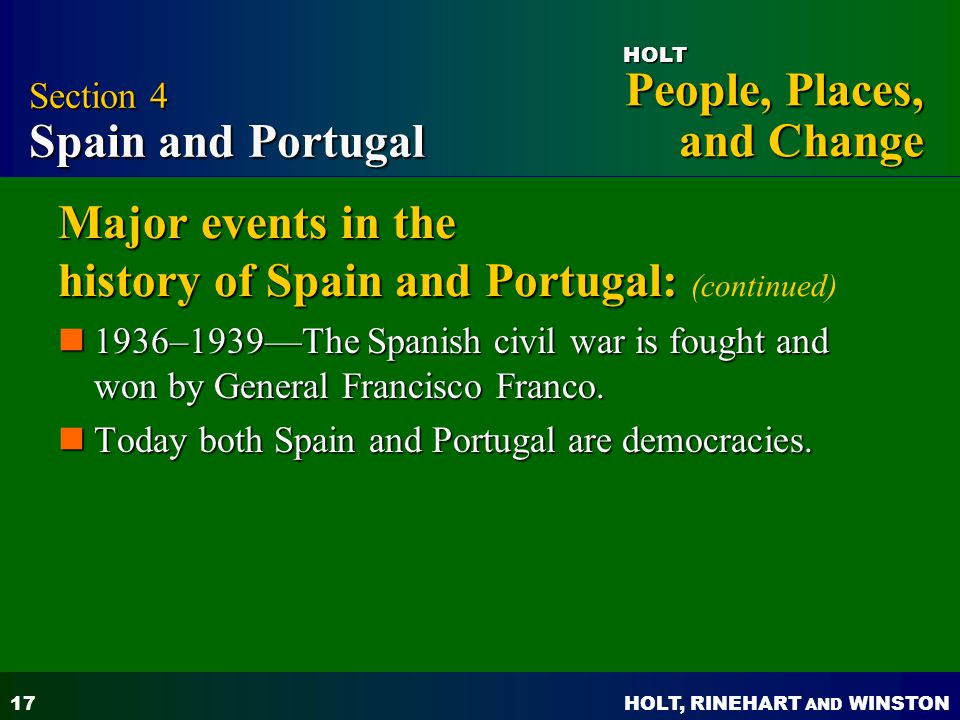 Major events in the history of Spain and Portugal: (continued)